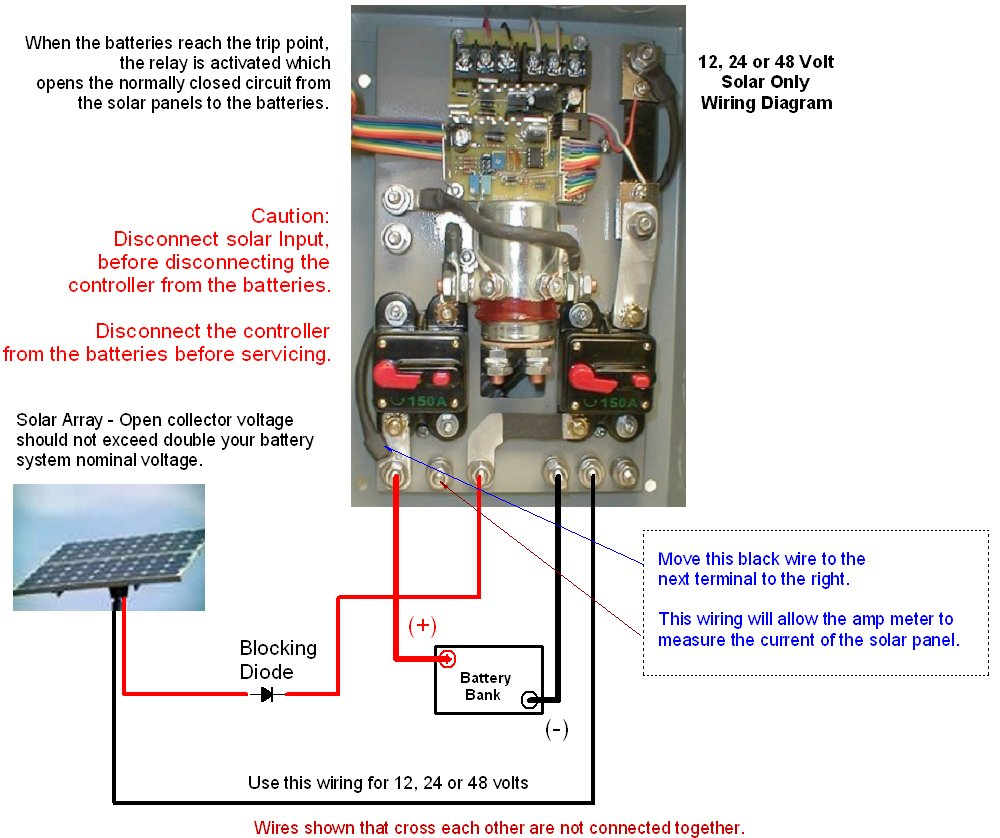 C440_HVA_SolarOnlyControlWiring coleman air c440 hva 440 amp 12 24 48v volt wind solar battery wind turbine charge controller wiring diagram at fashall.co